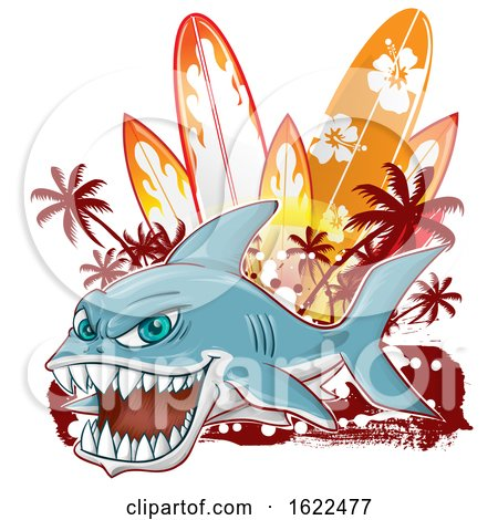 Fierce Shark Mascot over Grunge and Surfboards by Domenico Condello