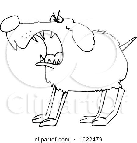 Cartoon Black and White Barking Guard Dog by djart