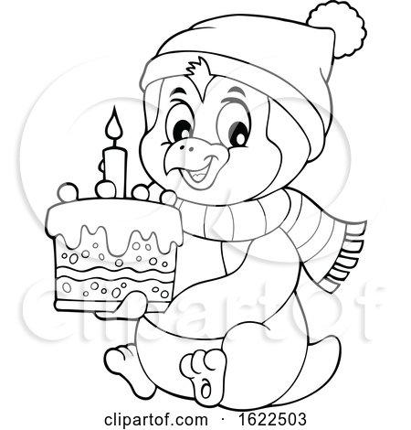 Penguin Holding a Cake by visekart