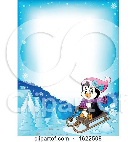 Female Penguin Sledding by visekart