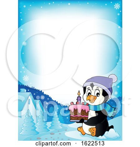 Border of a Penguin Holding a Cake by visekart