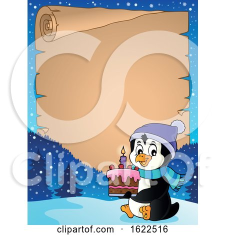 Parchment Scroll Border of a Penguin Holding a Cake by visekart