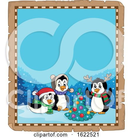 Parchment Border with Christmas Penguins by visekart