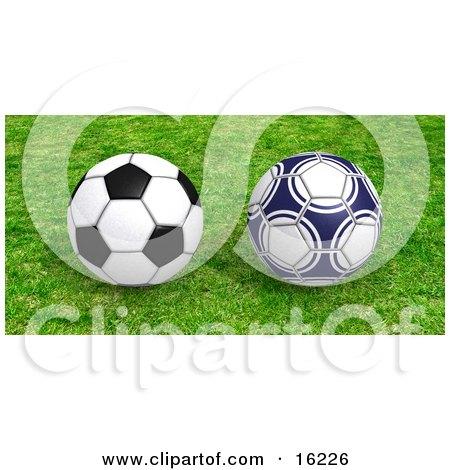 Two Soccer Balls Resting On Green Grass Clipart Illustration Image