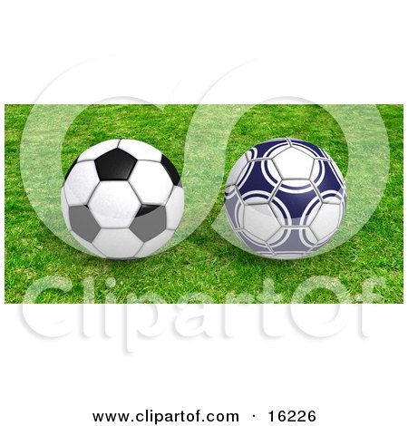 Two Soccer Balls Resting on Green Grass  Posters, Art Prints