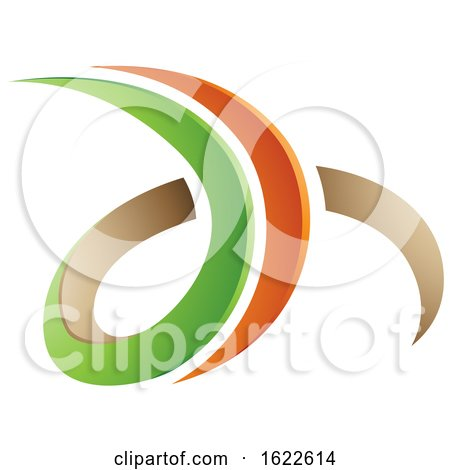 Green Orange and Beige Letters D and H by cidepix