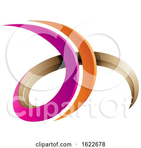 Magenta Orange and Beige Letters D and H by cidepix