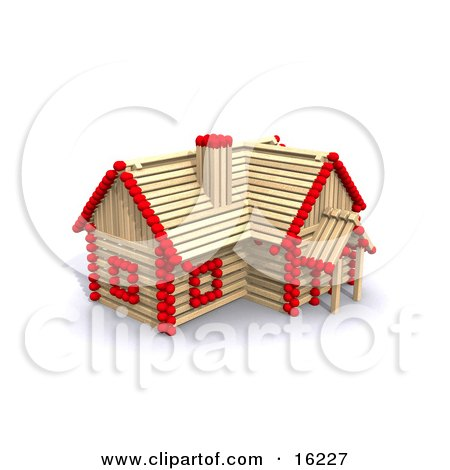 Matchstick Home With Red Tips, Symbolizing A Stick Built House, Foreclosure, And Insurance Clipart Illustration Image by Anastasiya Maksymenko