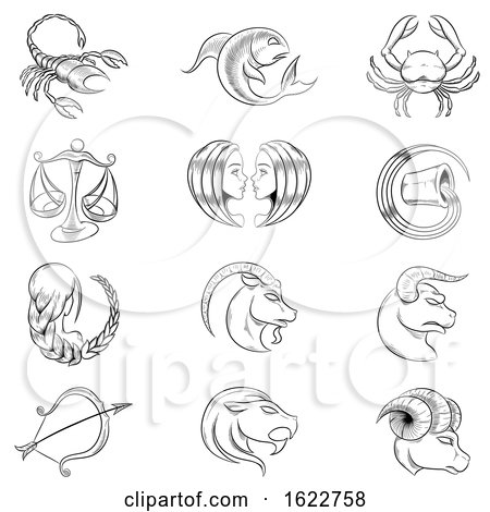 Black and White Sketched Horoscope Signs by cidepix