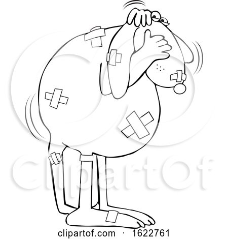 Cartoon Black and White Battered Dog Covering His Face by djart