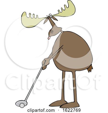 Cartoon Moose Golfing by djart