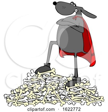 Cartoon Dog Super Hero on a Pile of Bones by djart