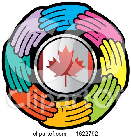 Colorful Hands Around a Canadian Flag Circle by Lal Perera