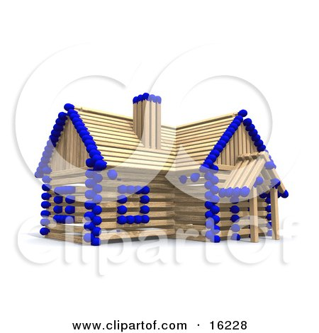 Matchstick Home With Blue Tips, Symbolizing A Stick Built House, Foreclosure, And Insurance Clipart Illustration Image by Anastasiya Maksymenko