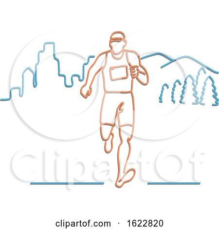 Marathon Runner in Neon Style by patrimonio