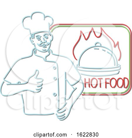 Chef Thumbs up Hot Food Neon Sign by patrimonio