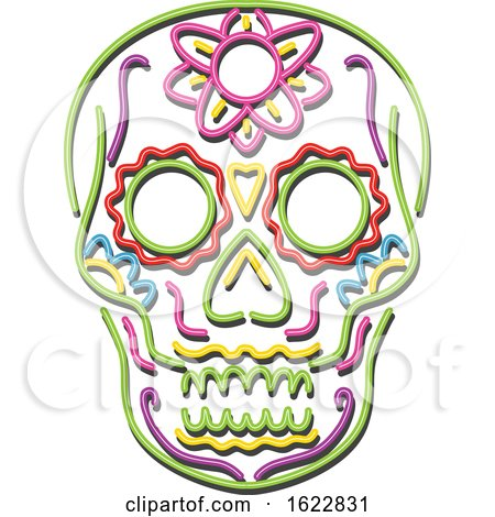 Tattoo Sugar Skull in Neon Style by patrimonio