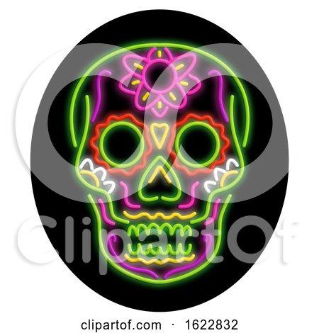 Sugar Skull Oval Neon Sign by patrimonio