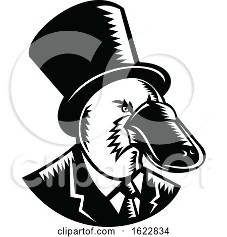 Duck-billed Platypus Tophat Woodcut Black and White by patrimonio