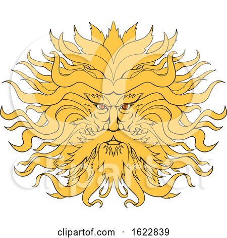 Helios Greek God of Sun Head Drawing Color by patrimonio