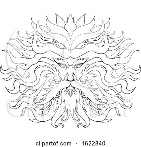 Helios Greek Sun God Head Drawing Black and White by patrimonio