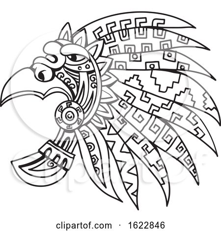 Aztec Feathered Headdress Drawing Black and White by patrimonio