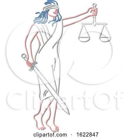 Blindfolded Lady Justice Holding a Sword and Scale Neon Light Style by patrimonio