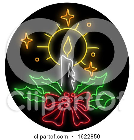 Christmas Candle Wreath Oval Neon Sign by patrimonio