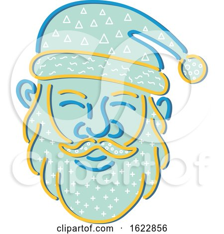 Santa Claus Face in Memphis Style by patrimonio