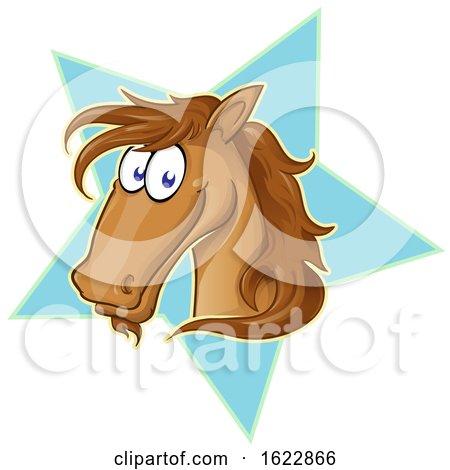 Cartoon Brown Horse Face over a Star by Domenico Condello