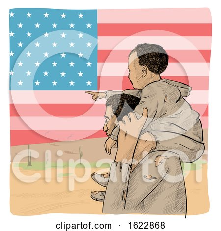 Migrant Father Carrying His Pointing Son on His Shoulders over an American Flag by Domenico Condello