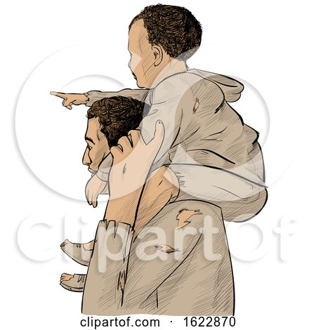 Migrant Father Carrying His Pointing Son on His Shoulders by Domenico Condello