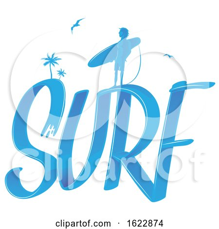 Silhouetted Surfer on the Word Surf by Domenico Condello