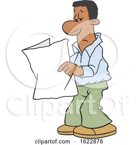 Cartoon Black Man Reading a Blank Paper by Johnny Sajem