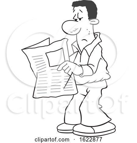 Cartoon Grayscale Black Man Reading the Newspaper by Johnny Sajem
