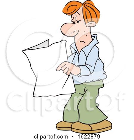 Cartoon White Man Reading a Blank Paper by Johnny Sajem