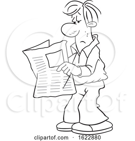 Cartoon Black and White Man Reading the Newspaper by Johnny Sajem