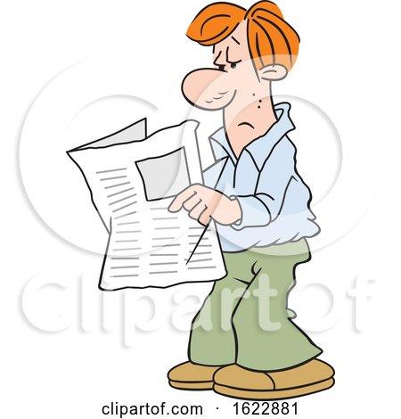 Cartoon White Man Reading the Newspaper by Johnny Sajem