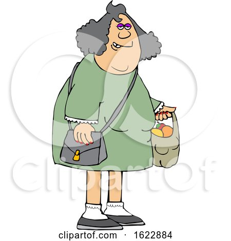 Cartoon Chubby White Woman Carrying a Shopping Bag Full of Apples and Oranges by djart