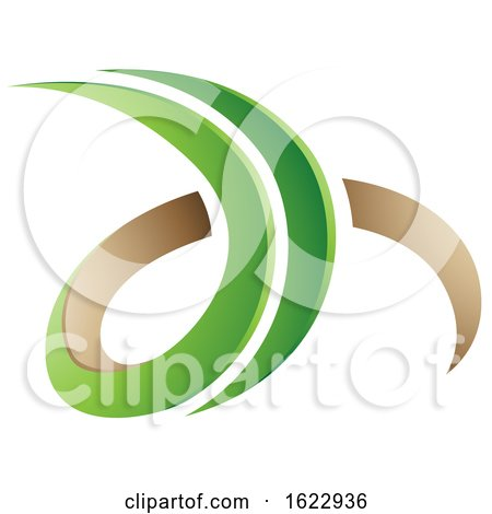 Green and Beige 3d Curly Letters D and H by cidepix