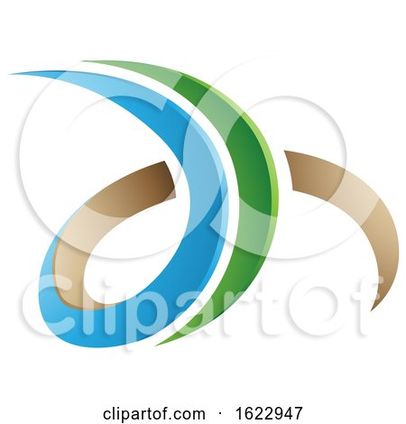 Blue Green and Beige 3d Curly Letters D and H by cidepix