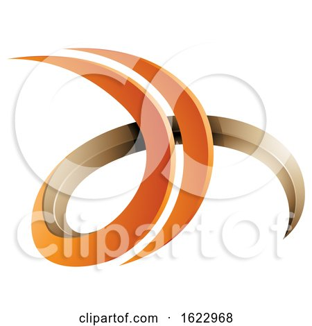 Orange and Beige 3d Curly Letters D and H by cidepix