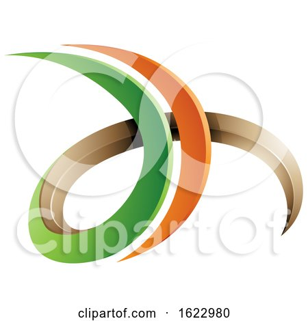 Green and Orange 3d Curly Letters D and H by cidepix