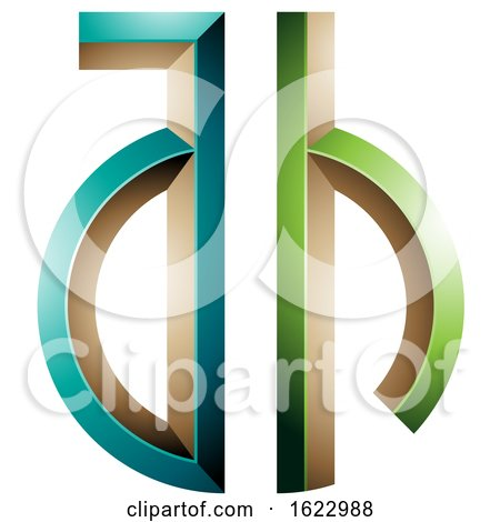 Green and Turquoise Key like Letters a and H by cidepix
