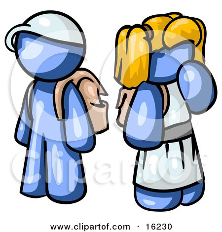 Blue Boy Wearing A Hat And Carrying A Backpack, Standing Beside A Blond Blue Girl In A Dress, Who Is Also Carrying A Backpack And Holding Her Hand By Her Mouth Clipart Graphic by Leo Blanchette