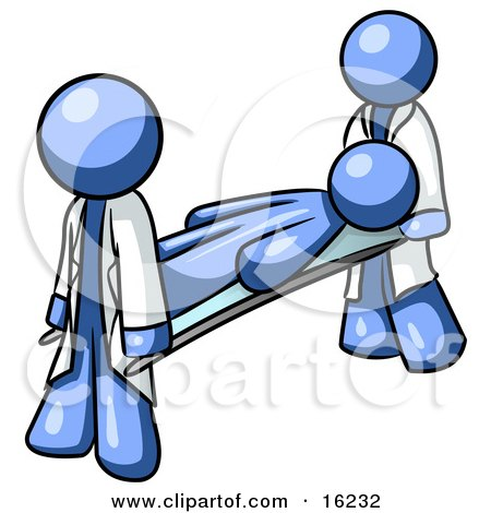 Injured Blue Man Being Carried On A Gurney To An Ambulance Or Into The Hospital By Two Paramedics After An Accident Or Health Problem Clipart Graphic by Leo Blanchette