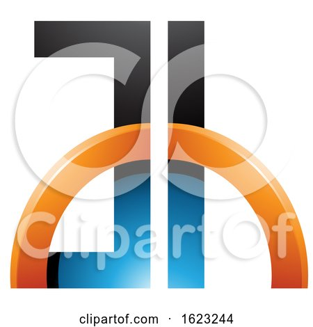Blue and Orange Letters a and H with a Half Circle by cidepix