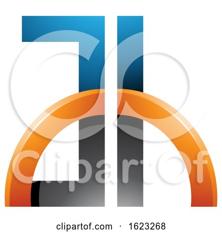 Black Blue and Orange Letters a and H with a Half Circle by cidepix