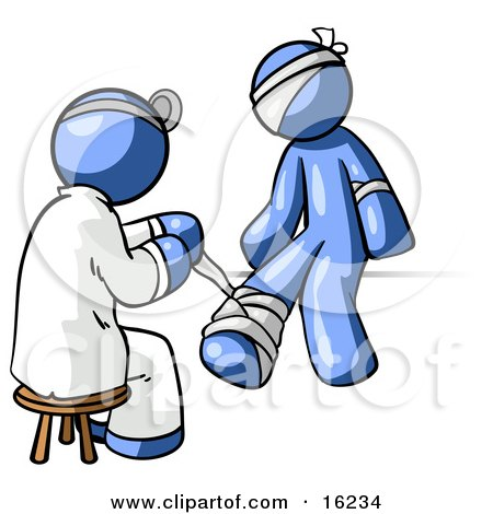 Blue Male Doctor In A Lab Coat, Sitting On A Stool And Bandaging A Blue Person That Has Been Hurt On The Head, Arm And Ankle Clipart Graphic by Leo Blanchette