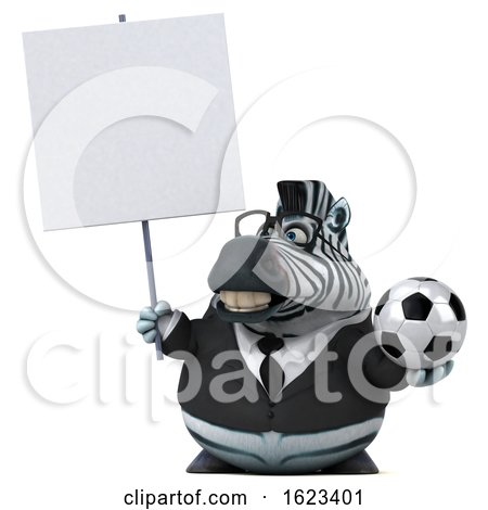 3d Business Zebra, on a White Background by Julos